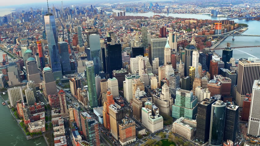 Aerial view of the Financial District in Lower Manhattan. Famous Skyscrapers. Daytime New York City, United States. Shot from a helicopter. | Shutterstock HD Video #30979843