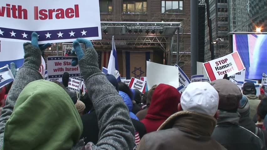 Chicago - 1/9/2009 - Pro Israel supporters rally with flags & signs.