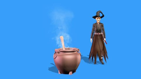 Witch Dances Cauldron Halloween Front Blue Screen 3D Rendering Animation Horror