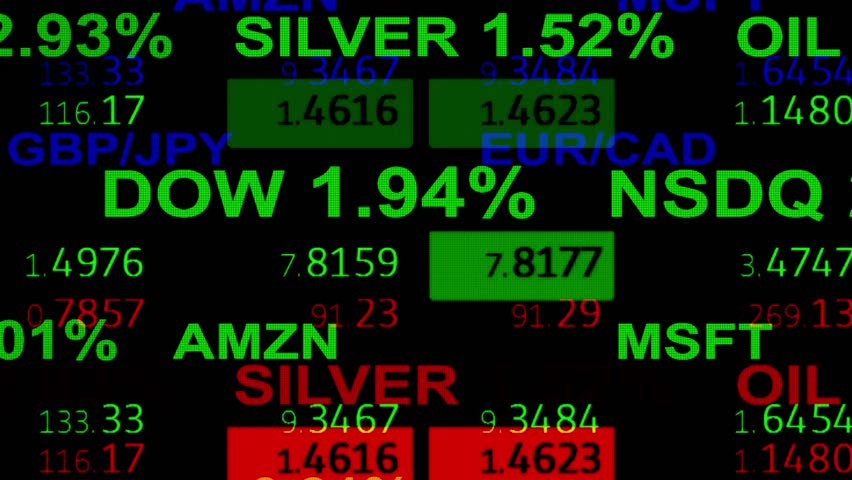 Forex stock market index commodity ticker board news line on black background - new quality financial business animated dynamic motion video footage animation