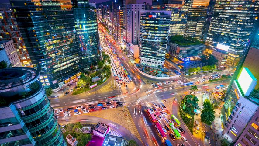 Timelapse Traffic at night in Gangnam City Seoul, South Korea. | Shutterstock HD Video #31023643