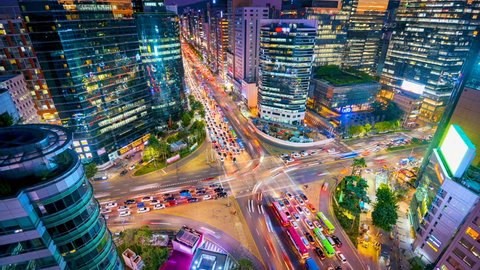 Timelapse Traffic at night in Gangnam City Seoul, South Korea.
