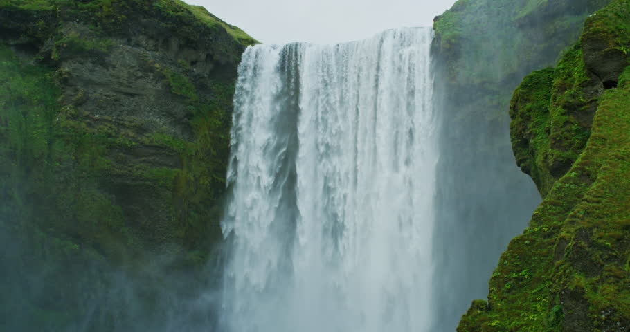 Powerful and beautiful Skógafoss waterfall in Iceland