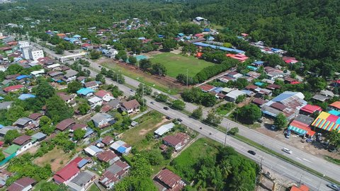 Top view or Aerial view Transport Moving on Street along in Phitsanulok Thailand.