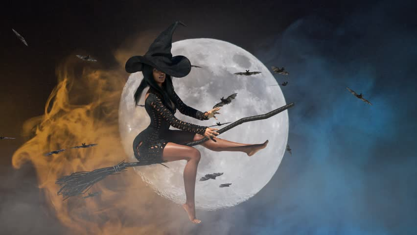 Картинка с ведьмой на метле