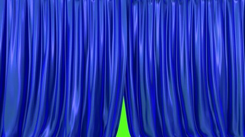 Stage or window blue curtain 3D animation with alpha mask