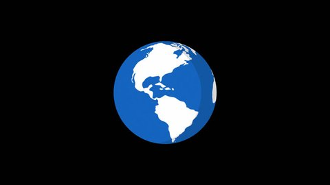 Planet Earth Rotates Flat Style Version 3. Motion Graphics. Transparent Background.