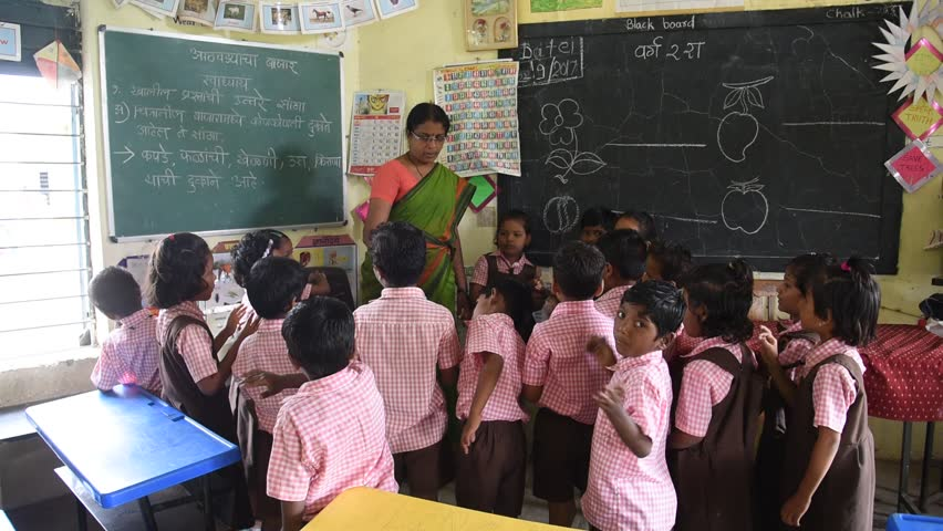 Cheerful Indian Rural Girl Promoting Right To Education -9292