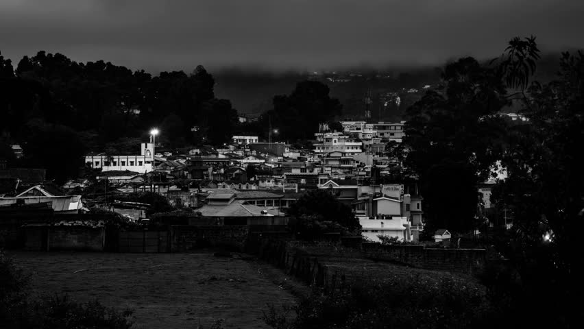 Ooty, India time-lapse from night to day. Aerial view of Nilgiri mountain