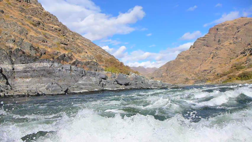 Point of view while traveling down rapids on Snake River in Hell's Canyon.