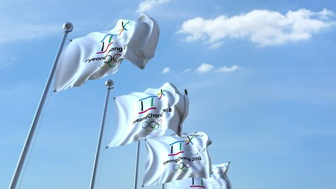 Multiple waving flags with 2018 PyeongChang Winter Olympics logo. 4K editorial animation, seamless loop