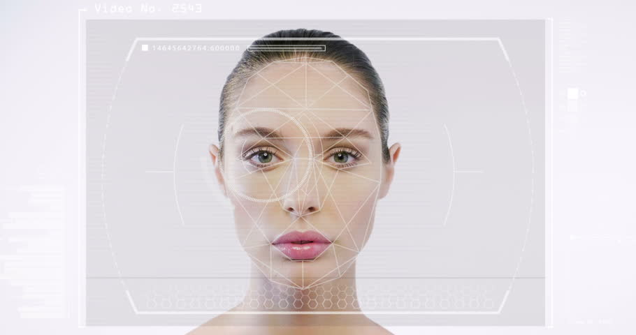 Futuristic and technological scanning of the face of a beautiful woman for facial recognition and scanned person. It can serve to ensure personal safety. Concept of:  future, security, scanning. | Shutterstock HD Video #31120633