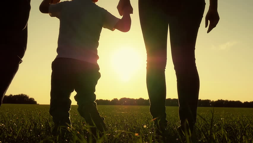 Happy young family with baby boy running around on summer field. A healthy mother, father and son enjoying nature together, outdoors. Sunset. #31121023
