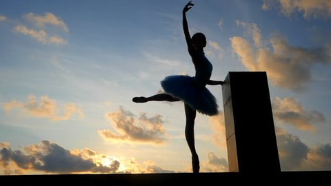 Silhouette of ballerina in ballet tutu and pointe on dramatic sky background. Young beautiful woman practicing stretching and exercises. Girl in static posture. SLOW MOTION. Gimbal shot