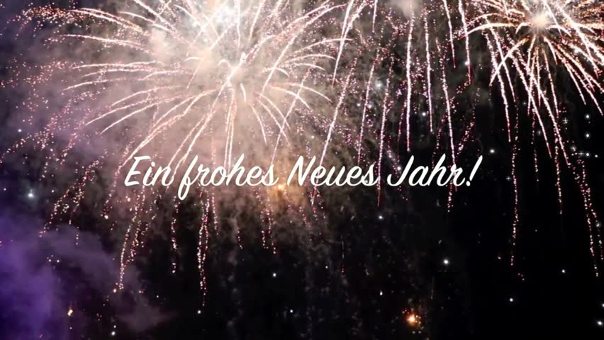 fireworks video of 20 seconds with beautiful explosions and a text banner saying frohes neues jahr in german language for 8 seconds