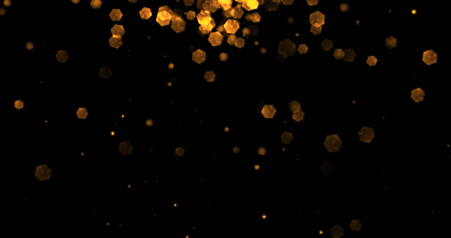 Christmas golden light shine particles bokeh loopable from top on black background, holiday congratulation greeting party happy new year, christmas celebration concept