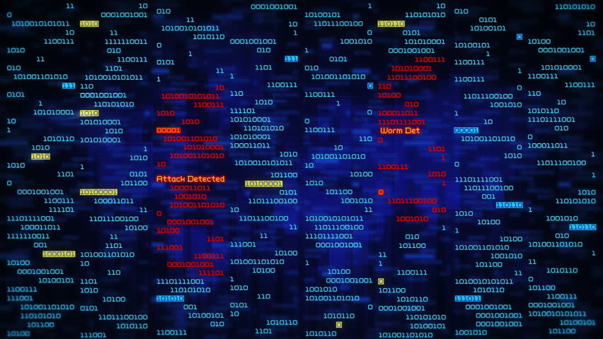 Binary data code animation showing warning messages in a virtual environment. Security breach concept, warning texts in a virtual environment.  System hacked. Virus and malware detected. Frontal-blue. | Shutterstock HD Video #31202203