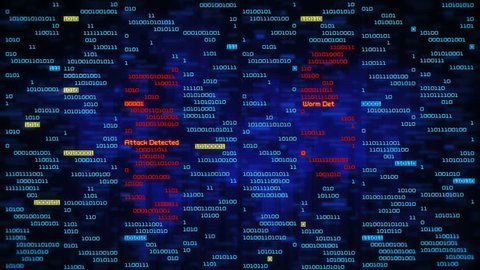 Binary data code animation showing warning messages in a virtual environment. Security breach concept, warning texts in a virtual environment.  System hacked. Virus and malware detected. Frontal-blue.