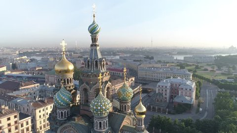Aerial video of the Cathedral of the Savior on Blood in Saint Petersburg, Russia. Morning, soft light.