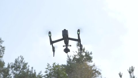 Drone in the air flying