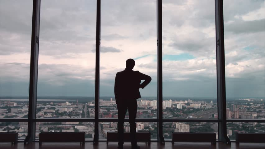 Rear view of businessman in an office with panoramic city view. Businessman admires the city from the panoramic Windows in the city centre