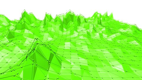 Green low poly background waving. Abstract low poly surface as high tech background in stylish low poly design. Polygonal mosaic background with vertex, spikes. Cartoon modern 3D design. Free space