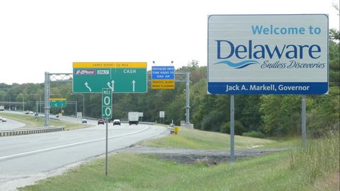 Welcome to Delaware Sign on Interstate 95 at Maryland Delaware Border
