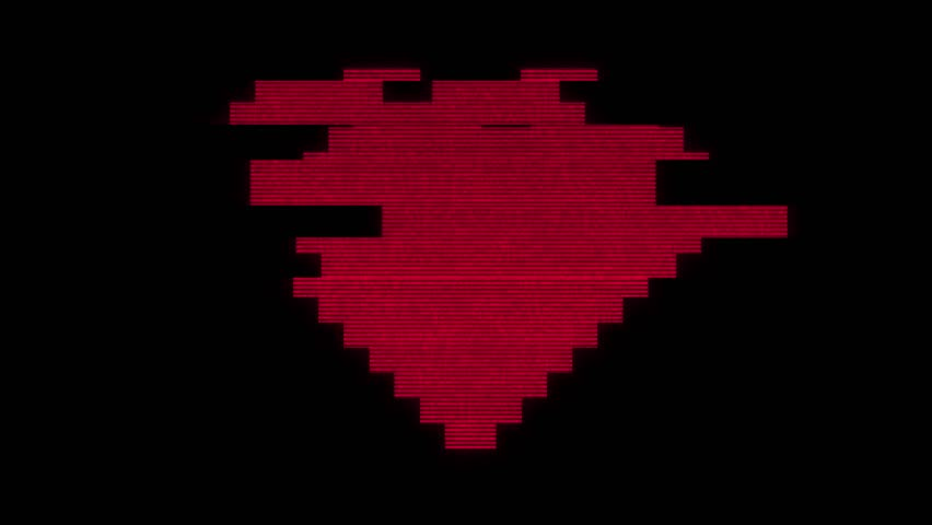 pixel heart on digital old tv screen seamless loop glitch interference animation new dynamic holiday retro joyful colorful retro vintage video footage