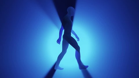 Animation of walking silhouette abstract man on colorful background with light rays from shine from back. Animation of seamless loop.