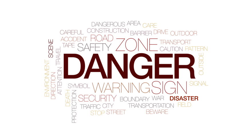Danger animated word cloud, text design animation. Kinetic typography. #31313572