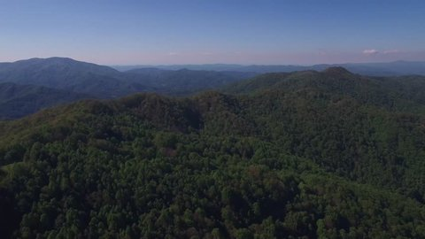 Aerial flyover of the Appalachian Mountains in the Blue Ridge Mountains during the springtime season.