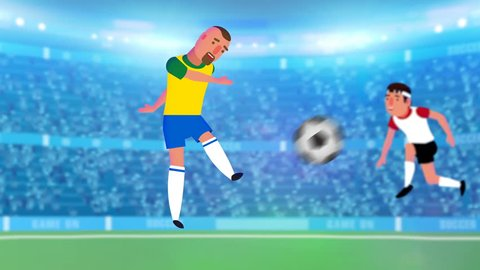 Super Soccer animated football intro, promo, starter video! Sports field with light, stadium full of cheering audience, player playing on field, caption text appearing at end.