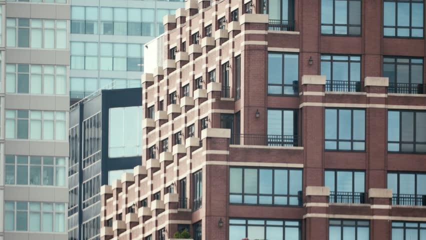 brick apartment building. New York City Architecture  Apartment Building Brick Wall Detail 4K stock video