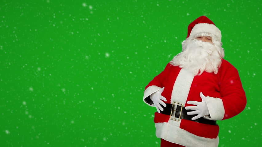 Happy Santa Claus laughing on green screen background with snow. Merry Christmas holiday symbol, characted in red costume suit. | Shutterstock HD Video #3141973