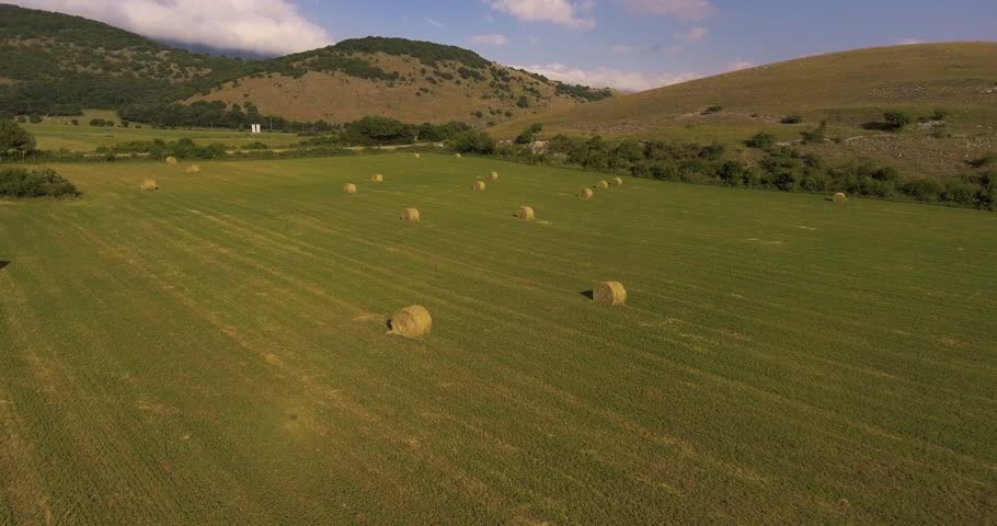 Aerial Hay Rolls On The Stock Footage Video 100 Royalty Free 31432243 Shutterstock