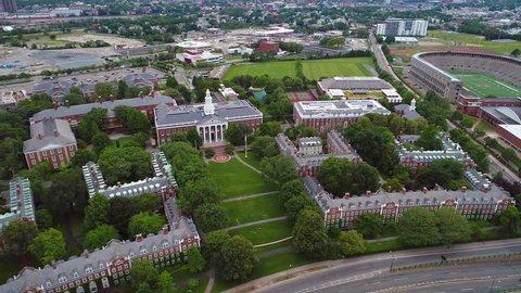 CAMBRIDGE, MA, USA - JUNE 28, 2017: Harvard business school Massachusetts 4k prores drone shot