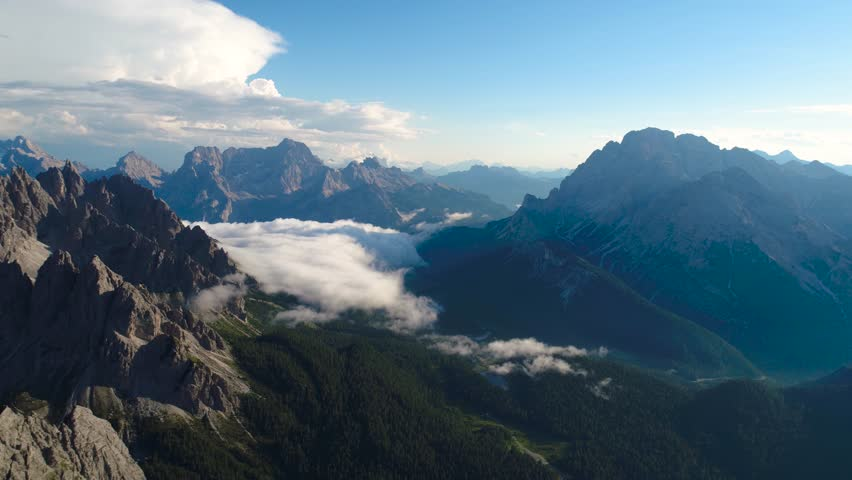 National Nature Park Tre Cime In the Dolomites Alps. Beautiful nature of Italy. Aerial FPV drone flights at sunset #31472983