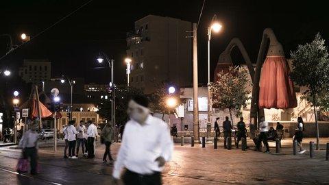 Jerusalem night street view of city center 4k footage time-lapse