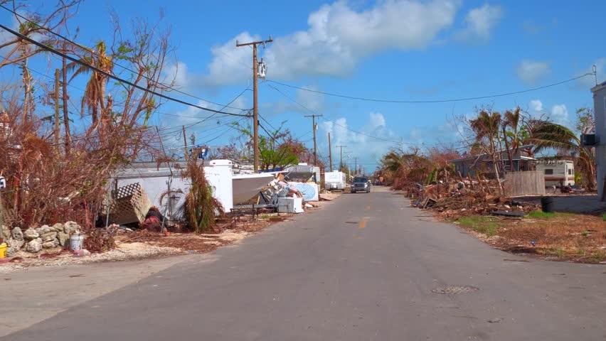 FLORIDA KEYS, FL, USA - OCTOBER 1, 2017: Driving through a neighborhood in the Florida Keys after Hurricane Irma