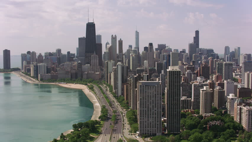Chicago, Illinois circa-2017, Flying over North Avenue Beach towards downtown Chicago. Shot with Cineflex and RED Epic-W Helium.