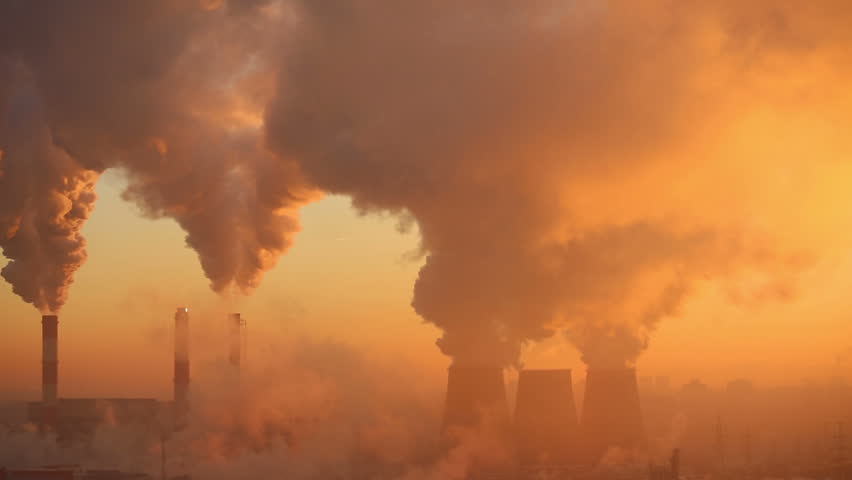 Polluting factory at dawn, time-lapse #3152725