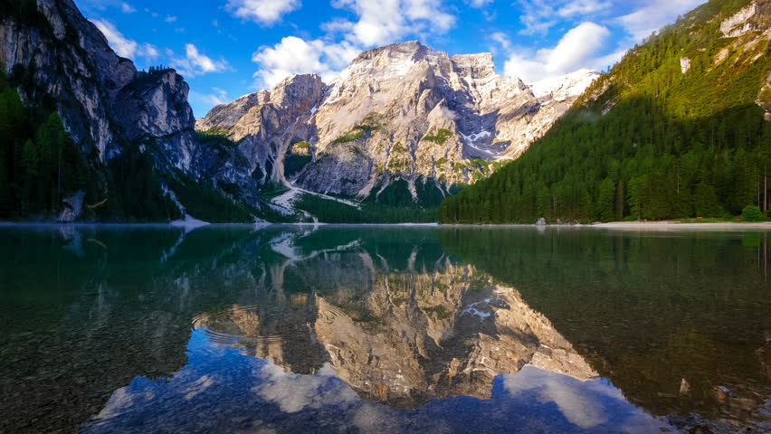 4K Time lapse of Braies Lake at sunrise, Dolomites mountains, Sudtirol, Italy | Shutterstock HD Video #31543123