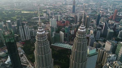 KUALA LUMPUR - CIRCA SEPTEMBER 2017: A look down view at the top of the iconic Petronas Twin Towers. Each tower was constructed by different company.