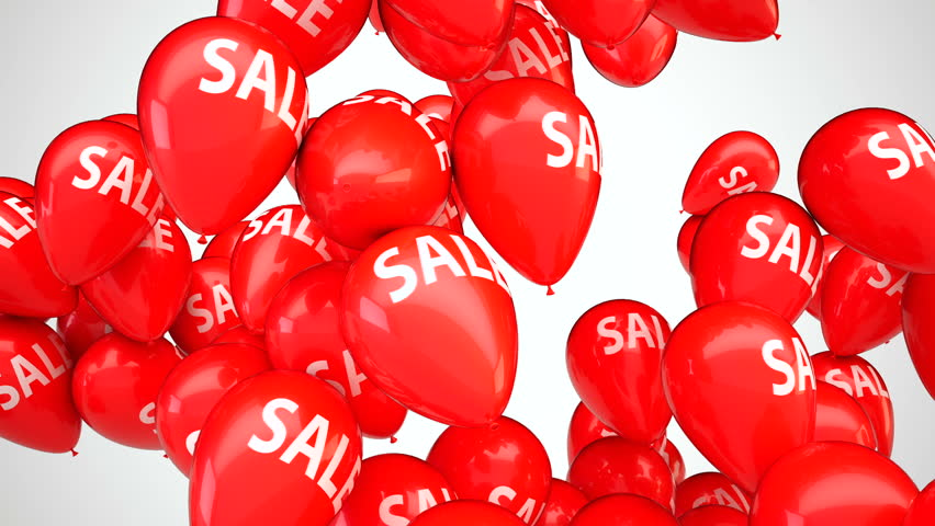 3D CGI animation of red balloons with text Sale flying up over white background. Perfect video for Black Friday or seasonal sales. Video with Alpha