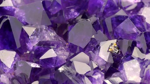 Very sharp and detailed footage of Amethyst stone detail, violet variety of quartz. Full HD 60fps