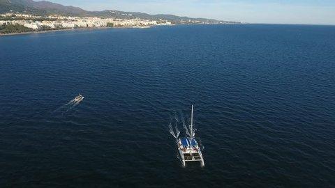 Catamaran Marbella Costa del sol Drone