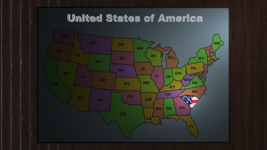Maryland Pull Out From USA States Abbreviations Map Stock Footage - Usa map abbreviations