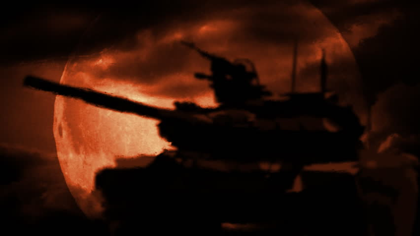 Symbol of war. Silhouette of the tank, at night in desert. Distortions from warm air