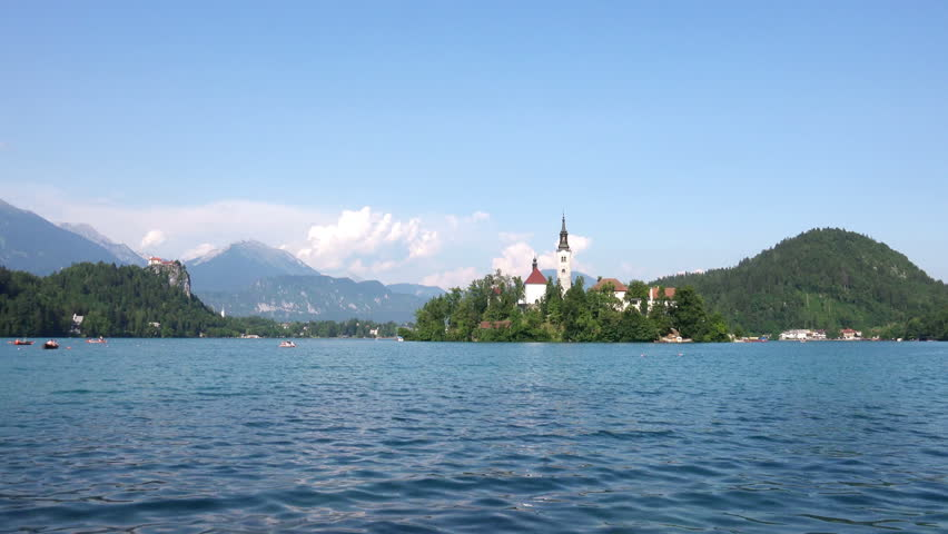 Scenic view of Church on the Island Bled in the Julian Alps in Slovenia. 4K Ultra HD 3840x2160 Video Clip