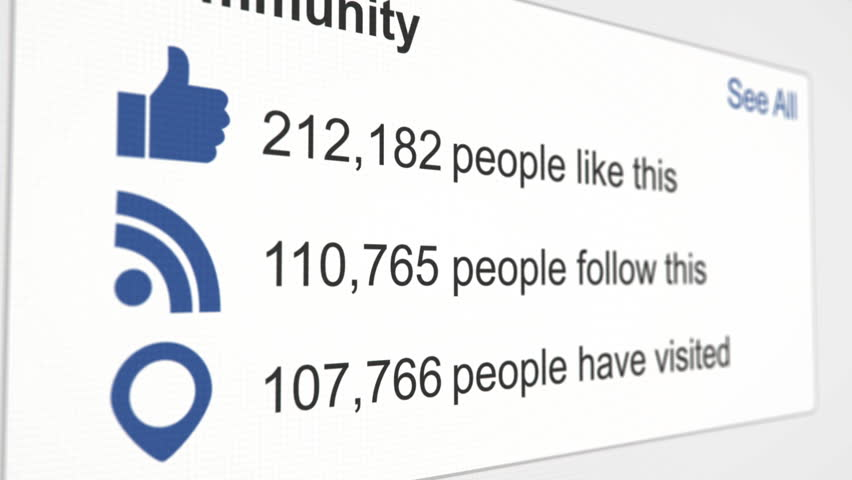 Social media webpage with like thumb, RSS feed, and visit icon and increasing counter.